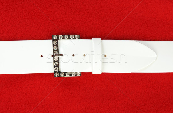 White leather belt and buckle with stone Stock photo © RuslanOmega