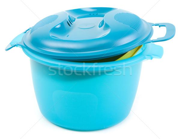 Niebieski plastikowe rondel zielone narzędzie puli Zdjęcia stock © RuslanOmega