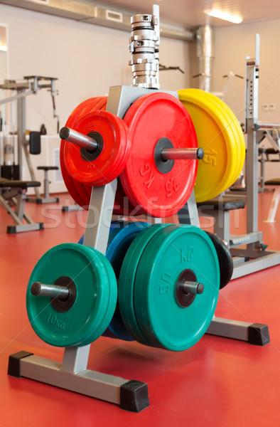 Plakalar vücut geliştirme durmak spor salonu arka plan spor Stok fotoğraf © RuslanOmega