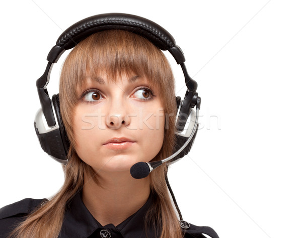 Portrait of the girl in earphone with mike Stock photo © RuslanOmega