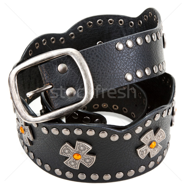 Black leather belt with yellow stone and steel buckle Stock photo © RuslanOmega