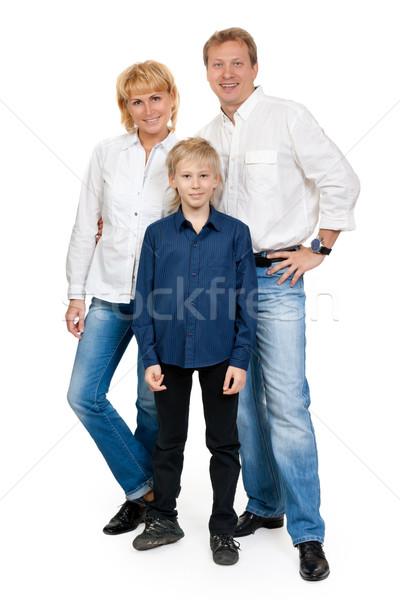 Szczęśliwą rodzinę trzy osoby studio biały rodziny Zdjęcia stock © RuslanOmega
