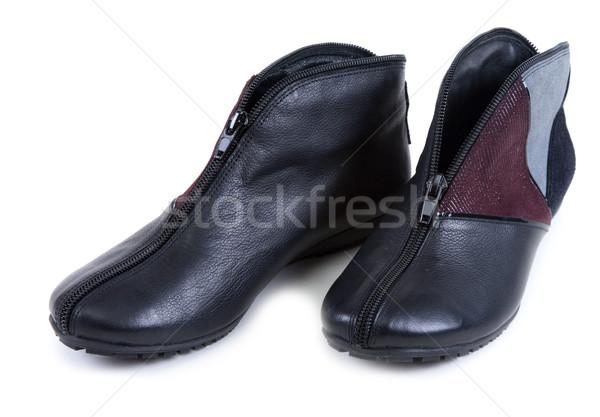 Feminine leather shoe with corduroy insertion Stock photo © RuslanOmega