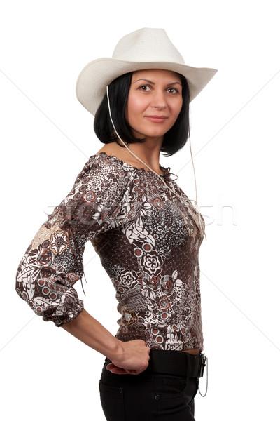 женщину ковбойской шляпе изолированный белый девушки красоту Сток-фото © RuslanOmega