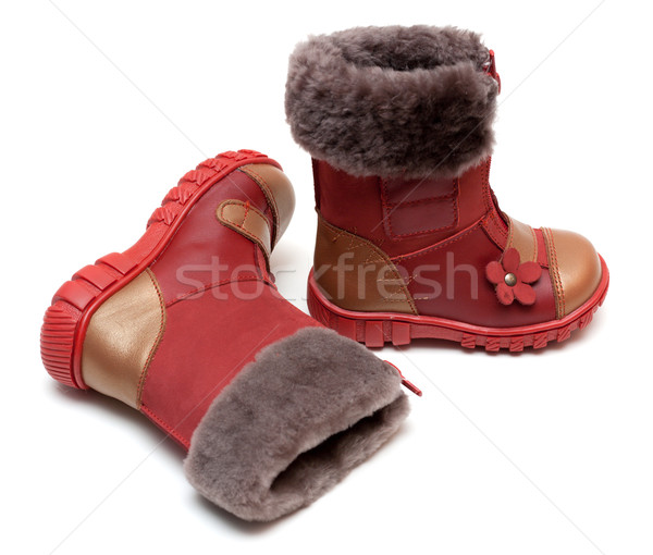 Red baby boots with fur Stock photo © RuslanOmega