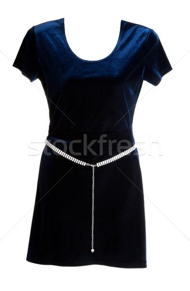 Mavi kadife elbise gümüş kemer beyaz Stok fotoğraf © RuslanOmega