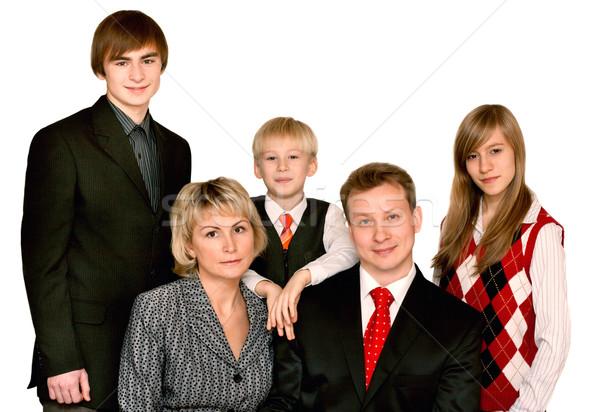 Családi portré vidám nagy fehér nő család Stock fotó © RuslanOmega
