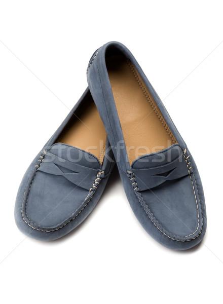 Azul zapatos estudio blanco cuero Foto stock © RuslanOmega