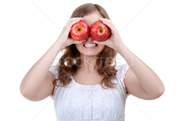 Mulher dois vermelho maçãs olhos Foto stock © RuslanOmega