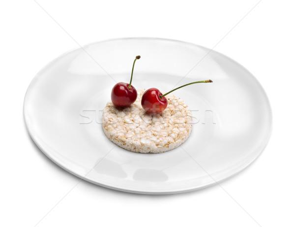 Dois cerejas prato alimentação saudável dieta arroz Foto stock © RuslanOmega