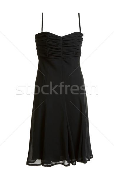 Stock photo: Black evening satin gown