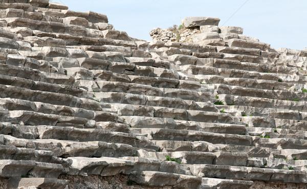 Eski amfitiyatro yan Türkiye Bina mavi Stok fotoğraf © RuslanOmega