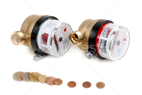 Stockfoto: Water · munten · euro · geld · witte