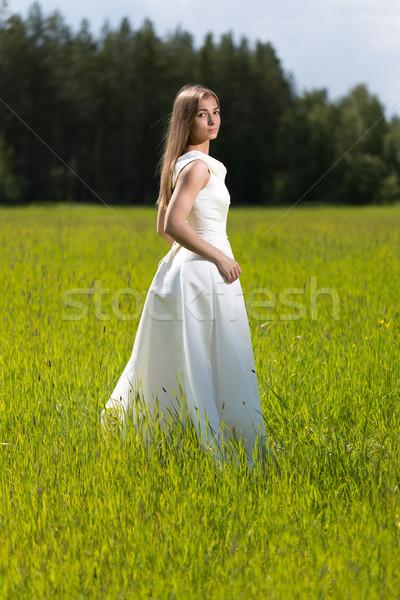 Gyönyörű lány esküvői ruha mező nő mosoly esküvő Stock fotó © RuslanOmega