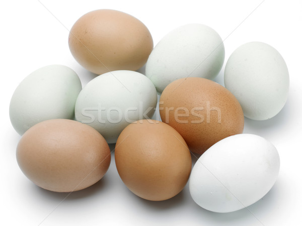 Oeufs bleu brun blanche alimentaire Photo stock © russwitherington