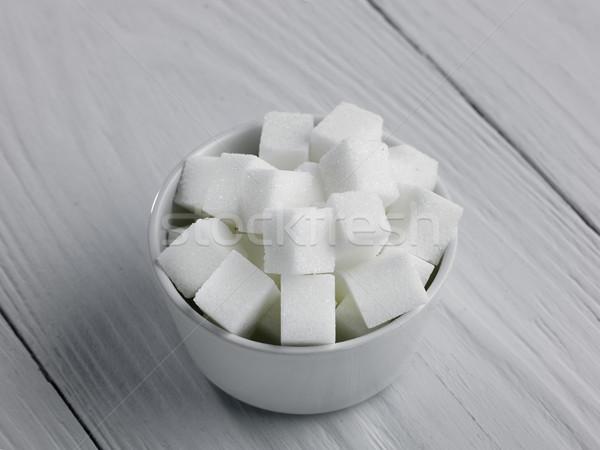 çanak şeker beyaz ahşap yüzey Stok fotoğraf © russwitherington