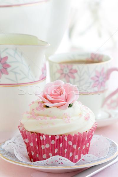 послеполуденный чай закрывается Китай пластина цветы Сток-фото © RuthBlack