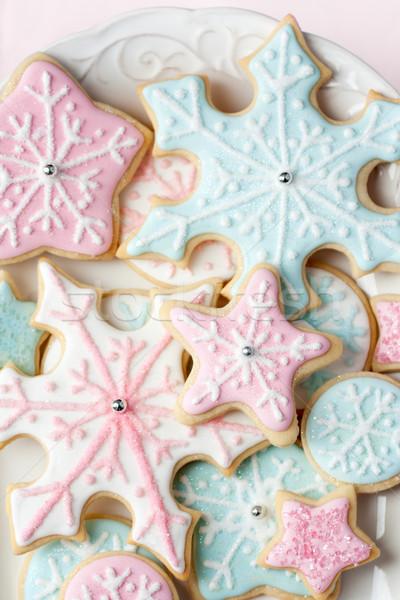 Flocon de neige cookies décoré rose bleu flocons de neige Photo stock © RuthBlack