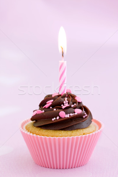 Pink birthday cupcake Stock photo © RuthBlack