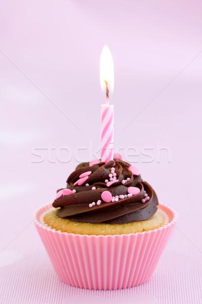 Roze verjaardag chocolade ingericht cake Stockfoto © RuthBlack