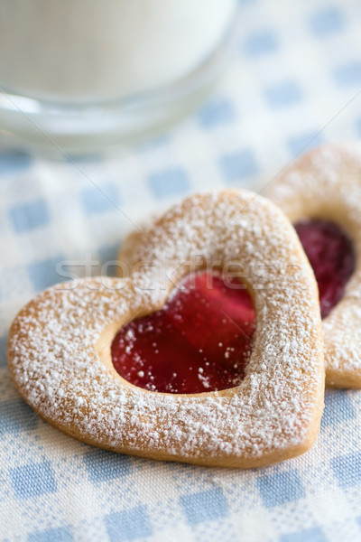 Valentin cookies verre lait amour Photo stock © RuthBlack
