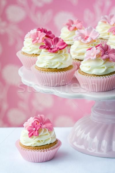 Roze bloem bloem bloemen bruiloft cake Stockfoto © RuthBlack