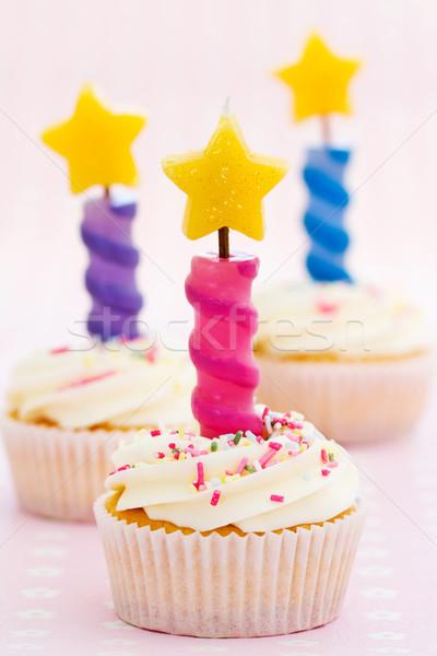 Three birthday cupcakes Stock photo © RuthBlack
