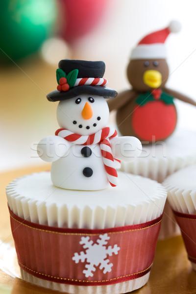 Photo stock: Noël · décoré · bonhomme · de · neige · hiver · rouge