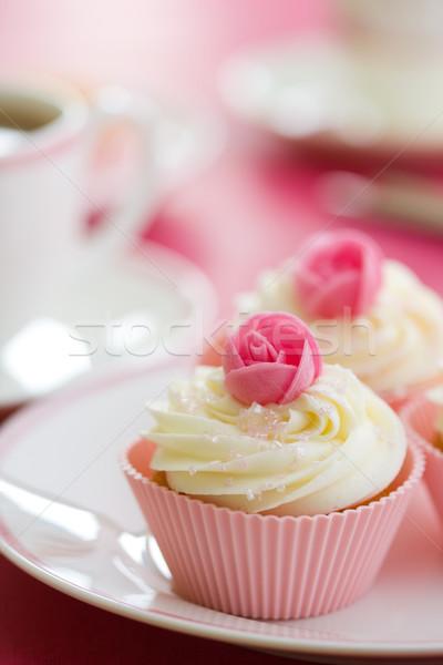 Podwieczorek różowy pąk róży biały tablicy Zdjęcia stock © RuthBlack