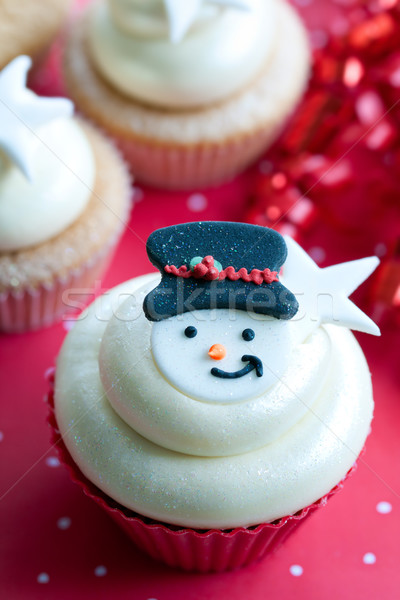 Snowman cupcake Stock photo © RuthBlack