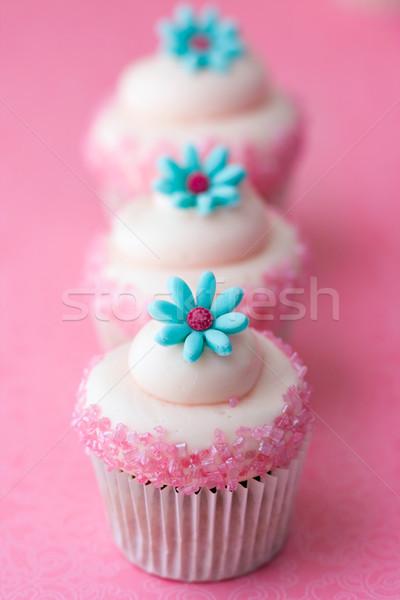 Stock fotó: Virág · minitorták · díszített · rózsaszín · cukor · virágok