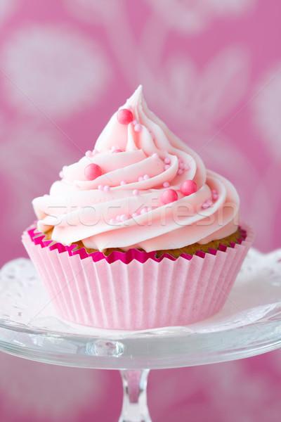 Foto d'archivio: Rosa · decorato · vetro · dessert · dolce