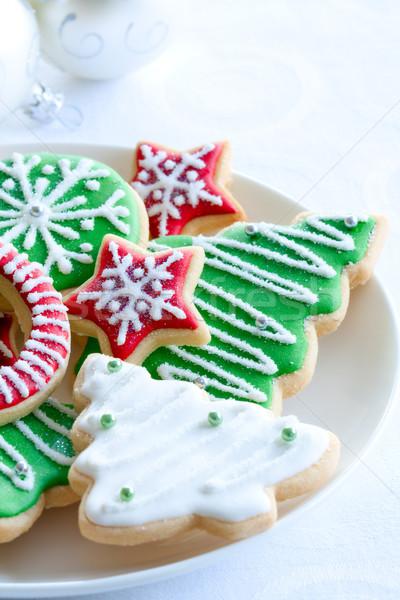 ストックフォト: クリスマス · クッキー · カラフル · プレート · ツリー · パーティ
