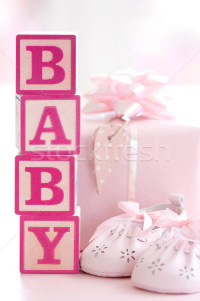 Pink baby building blocks Stock photo © RuthBlack