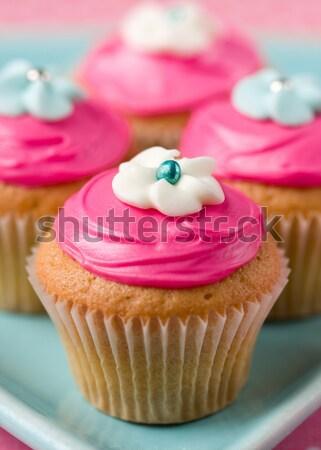 Blue mini flower cupcakes Stock photo © RuthBlack