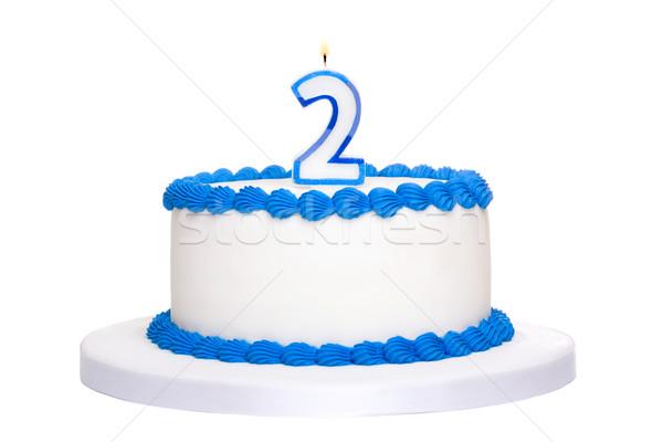 Gâteau d'anniversaire décoré bleu nombre deux bougie Photo stock © RuthBlack