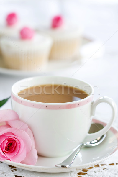 Photo stock: Tasse · thé · servi · rose
