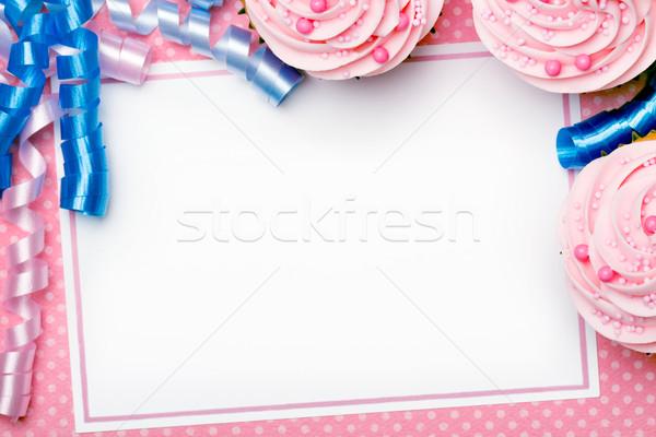 Buli háttér születésnap keret torta kék Stock fotó © RuthBlack
