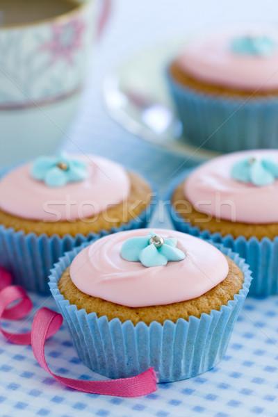 Сток-фото: украшенный · синий · сахар · цветы · вечеринка