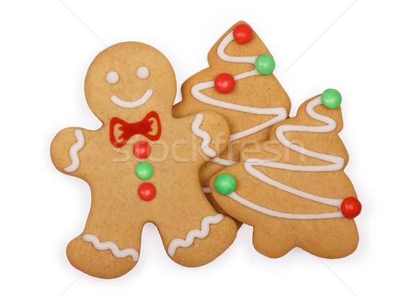 Stok fotoğraf: Zencefilli · çörek · kurabiye · gingerbread · man · noel · ağacı · ağaç · gülümseme