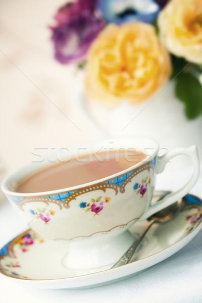 Podwieczorek herbaty serwowane vintage Chiny kubek Zdjęcia stock © RuthBlack