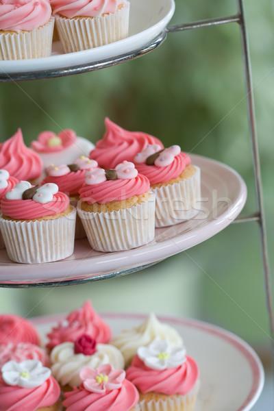 Délutáni tea minitorták torta áll étterem tányér Stock fotó © RuthBlack