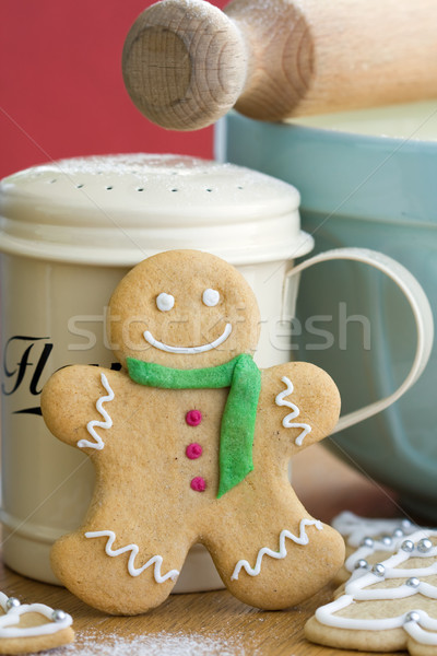 Gingerbread man souriant écharpe boutons sourire homme Photo stock © RuthBlack