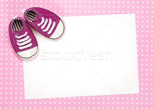 Blank card with pink baby shoes Stock photo © RuthBlack