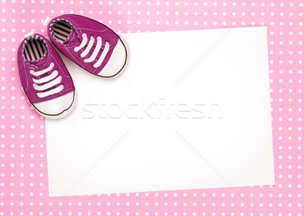 ブランクカード ピンク ベビーシューズ スペース コピー パーティ ストックフォト © RuthBlack