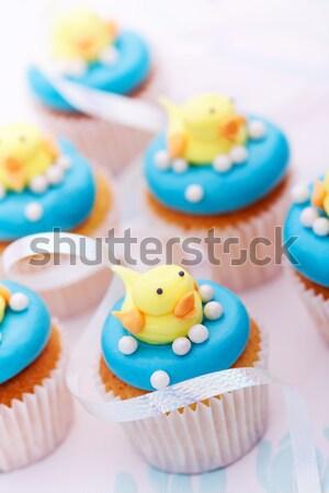 Photo stock: Décoré · jaune · heureux · gâteau