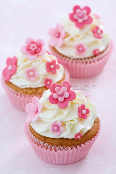 Stock fotó: Virág · minitorták · díszített · rózsaszín · torta · krém