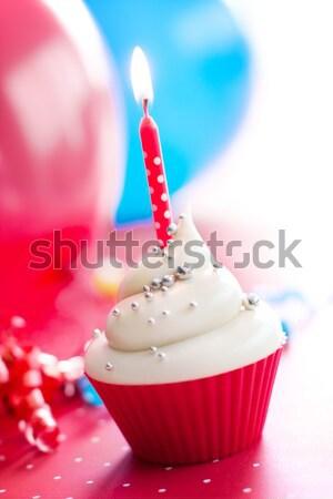 рождения украшенный серебро торт свечу Сток-фото © RuthBlack