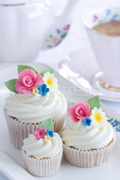 Flor chá da tarde servido flores café Foto stock © RuthBlack