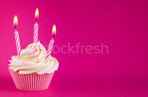 Stock photo: Birthday cupcake
